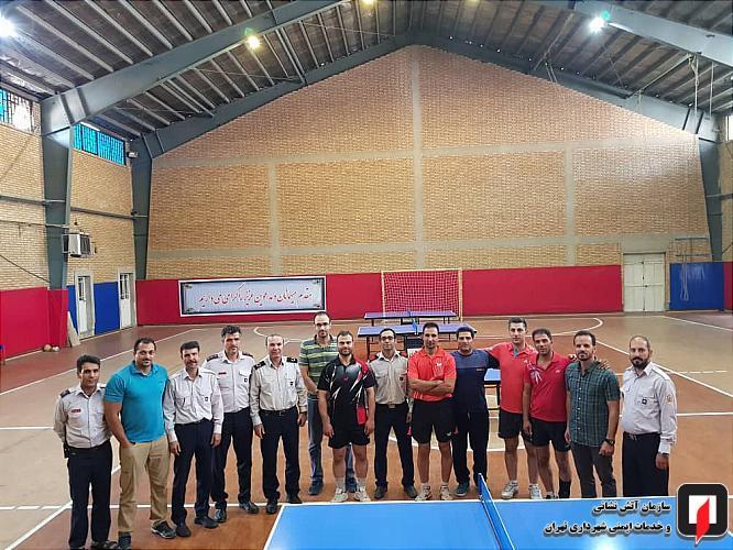 مسابقه تنیس روی میز در سازمان آتش نشانی تهران برگزار شد